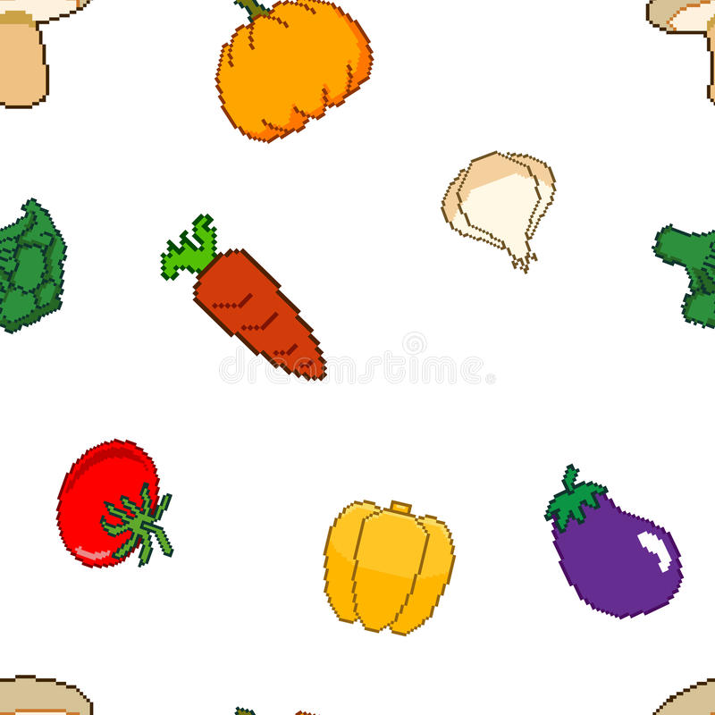 Pixel Art Vegetable Seamless Pattern de vecteur illustration stock