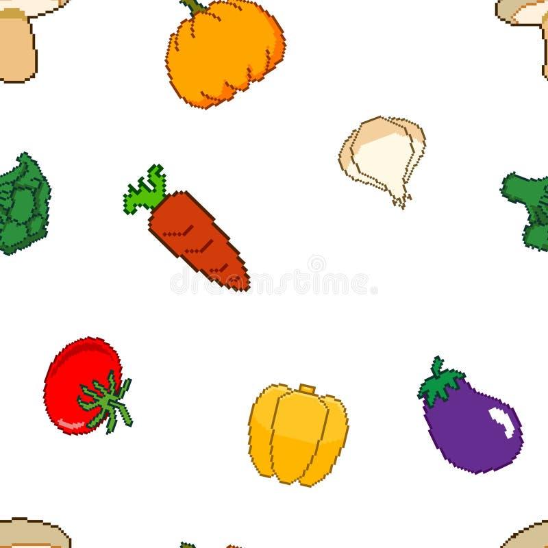 Pixel Art Vegetable Seamless Pattern del vector stock de ilustración