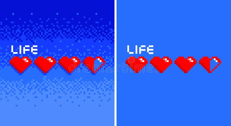 Pixel art 8-bit game vintage hearts on blue bacground vector illustration