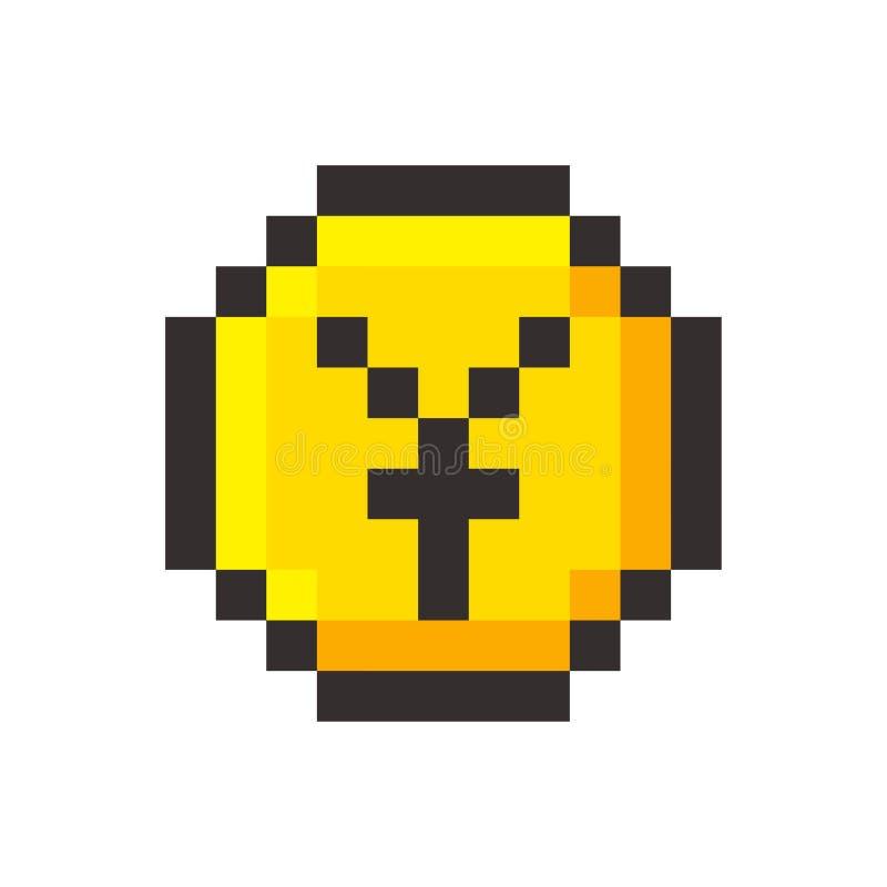 Pixel art yen golden coin retro video game stock illustration