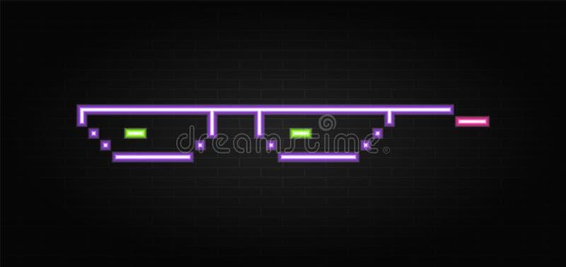 Pixel au néon en verre sur le fond de construction de mur Pixel en verre au néon illustration libre de droits