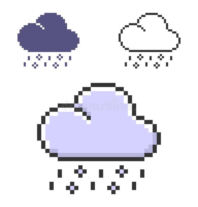 PIXEL av regn med hagel i tre varianter stock illustrationer