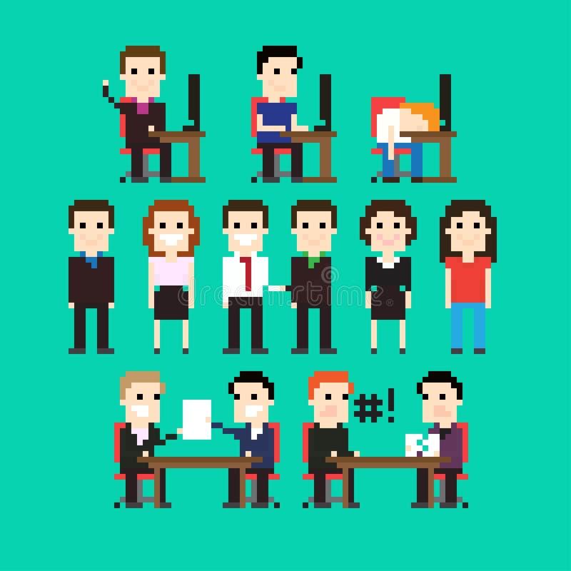Pixel-Büro stock abbildung