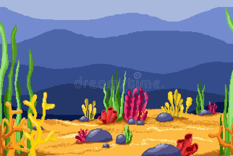 Pixel background for games and mobile applications. Underwater world with algae and corals royalty free illustration