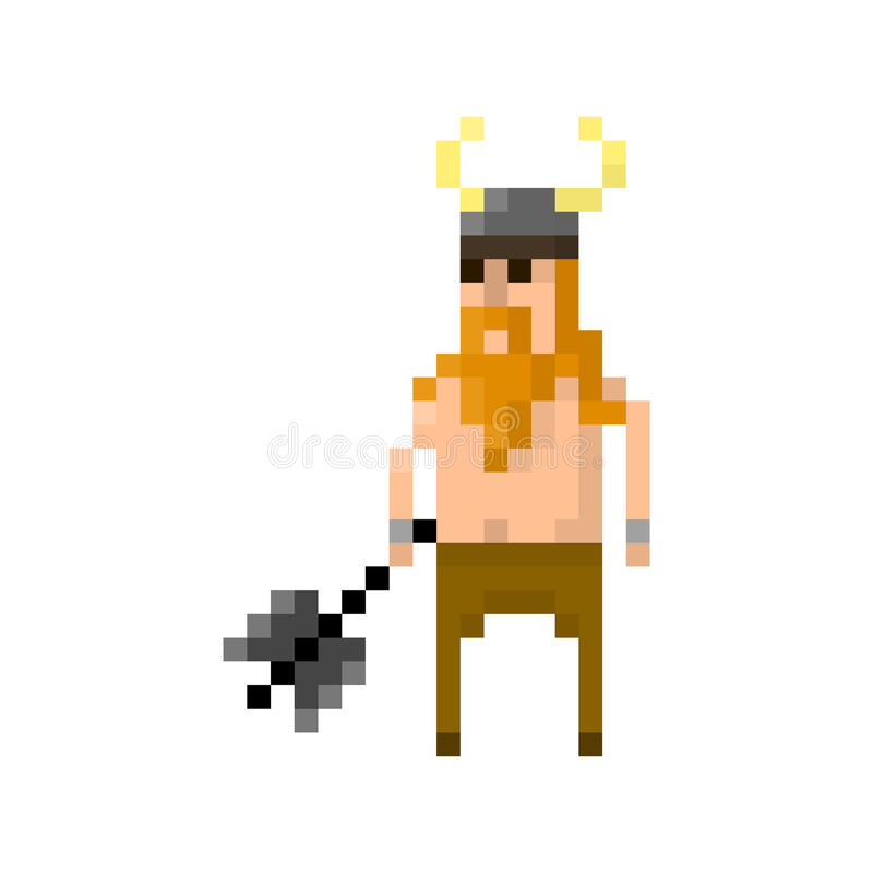 Pixel barbarian. For games and applications royalty free illustration