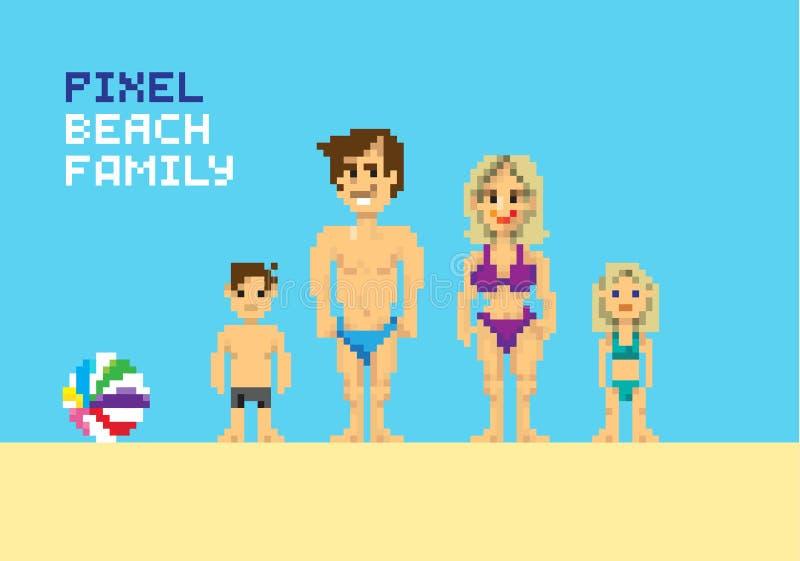 Pixel beach family. Pixelated illustration. - Stock vector vector illustration