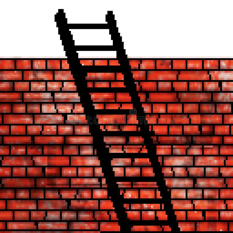 Pixel 8 bit drawn brick wall with a ladder leaning on it vector illustration