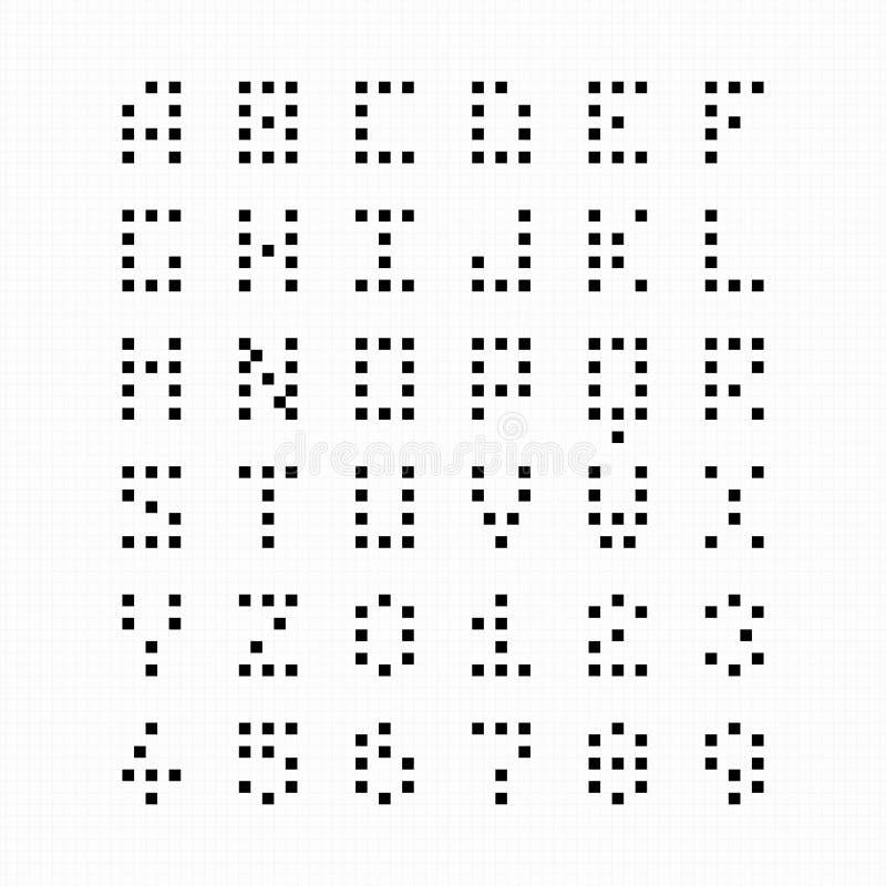 Pixel, Bit Font, Alphabet Stock Vector. Illustration Of