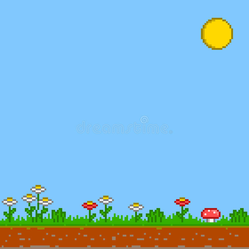 Pixel 8 bit game background. Vector sunny day. Vector pixel background. Sunny day background. Game 8 bit background. Sun, flowers and blue sky. Retro games stock illustration