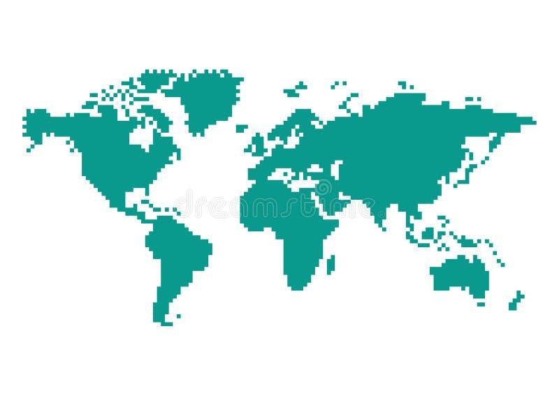 Pixel 8 Bit World Map Illustration Stock Illustration Illustration