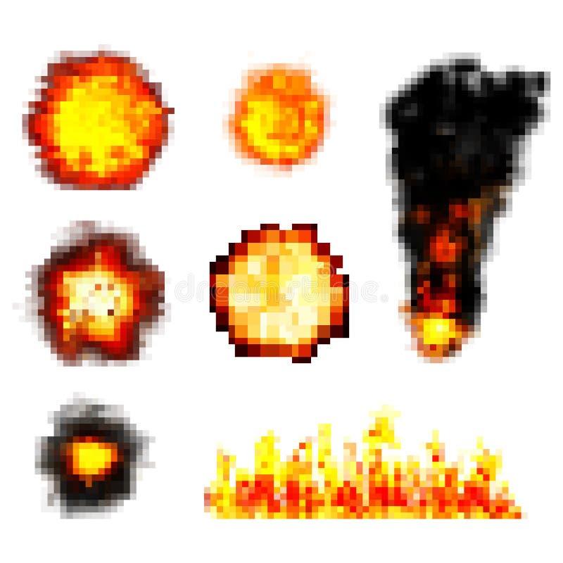 Pixel boom. retro game explosions. vector set stock illustration