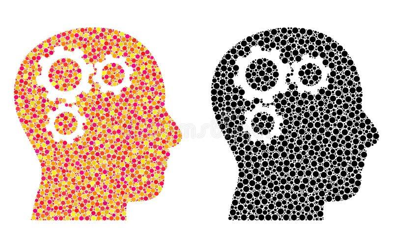 Pixel Brain Gears Mosaic Icons ilustração do vetor