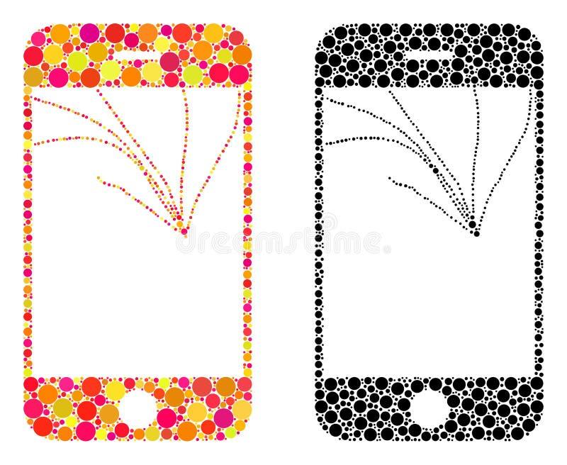 Pixel Broken Smartphone Screen Mosaic Icons vector illustration