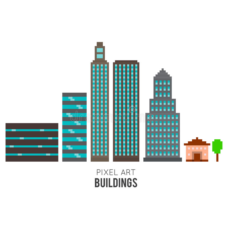 Pixel Buildings royalty free illustration