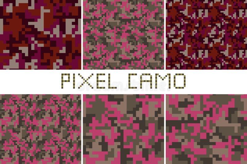 Pixel camo seamless pattern Big set stock illustration