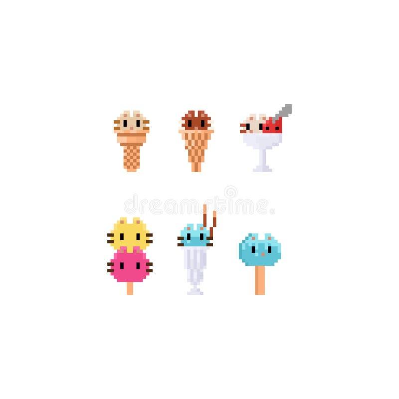 Pixel cat ice creams.8bit.desserts. Pixel cat ice creams.8bit art.desserts stock illustration