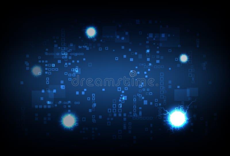 Pixel che emette luce con l'illustrazione elettrica di vettore di tecnologia del fondo dell'estratto della palla royalty illustrazione gratis
