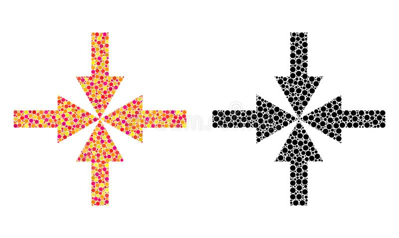 Pixel Compress Arrows Mosaic Icons. Dot compress arrows mosaic icons. Vector compress arrows icons in colorful and black versions. Collages of arbitrary spheric royalty free illustration