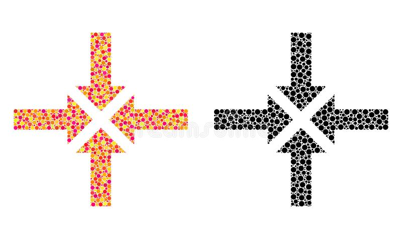 Pixel Compress Arrows Mosaic Icons. Dotted compress arrows mosaic icons. Vector compress arrows pictograms in colorful and black versions. Collages of different royalty free illustration