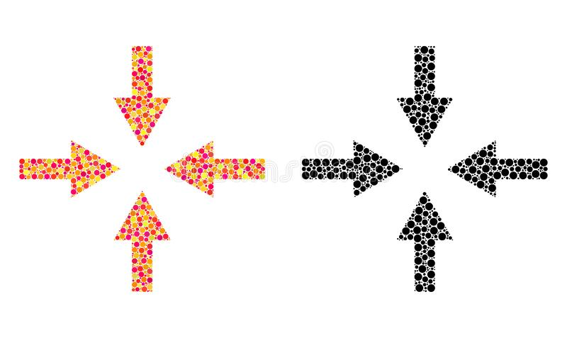 Pixel Compress Arrows Mosaic Icons. Vector compress arrows icons in bright and black versions. Collages of casual spheric elements stock illustration