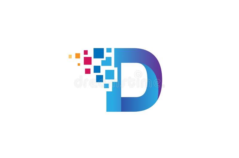 Pixel creativo Logo Design Symbol Vector Illustration de la letra de D ilustración del vector