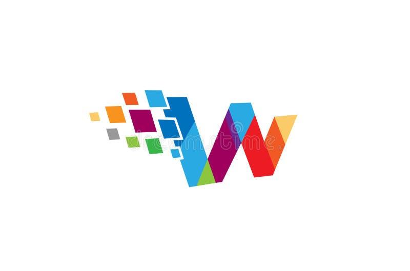 Pixel creativo Logo Design Symbol Vector Illustration de la letra de W stock de ilustración