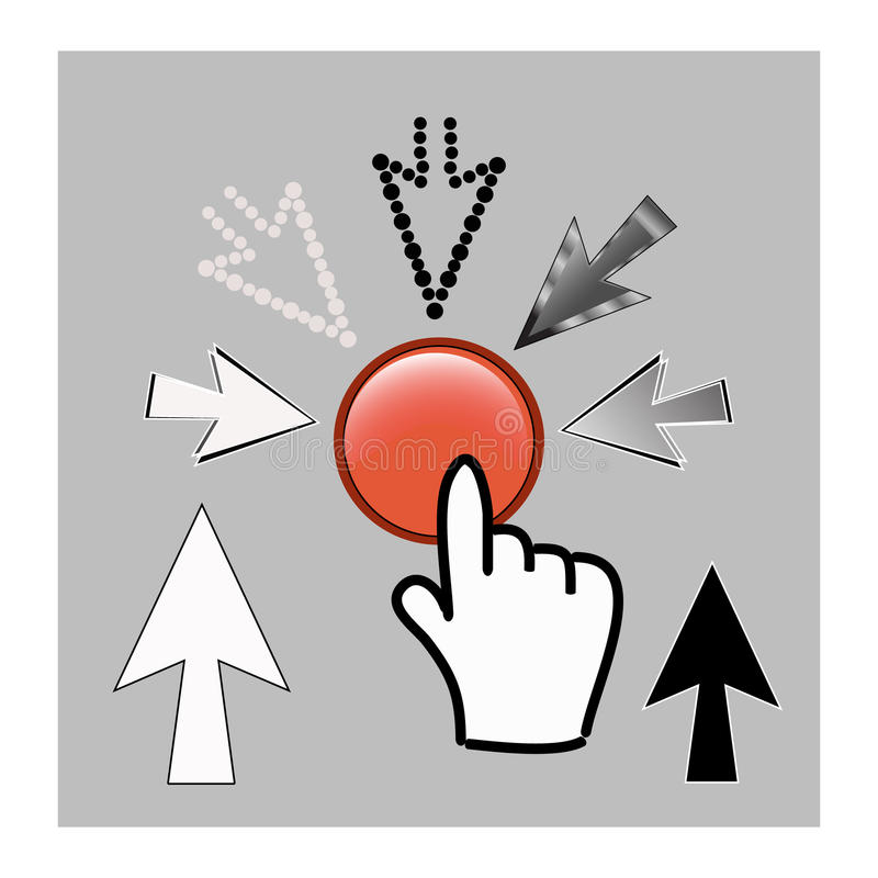 Pixel cursor icons: mouse hand and arrow pointers vector illustration