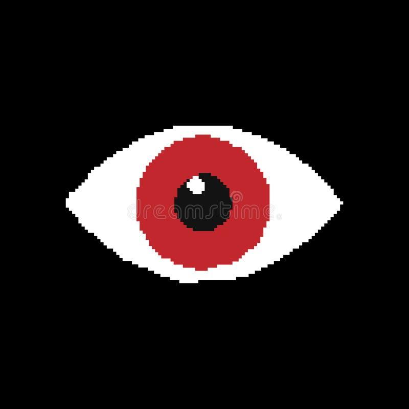 Pixel d'oeil iconisolated sur le fond noir Illustration de vecteur illustration libre de droits