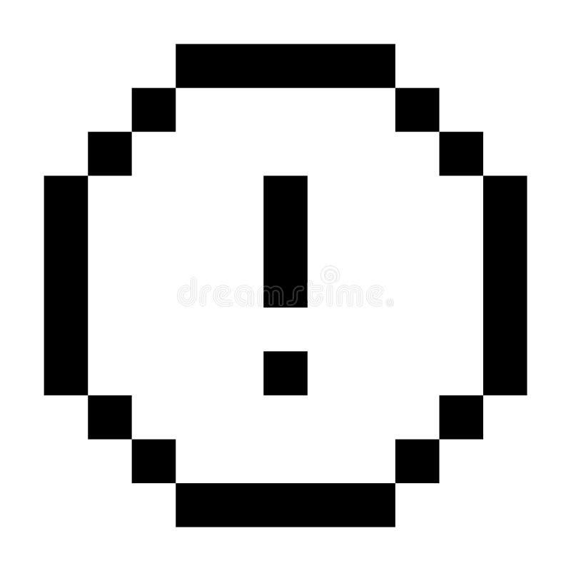Pixel de avertissement Art Style Black d'ic?ne de marque d'exclamation d'alerte illustration libre de droits