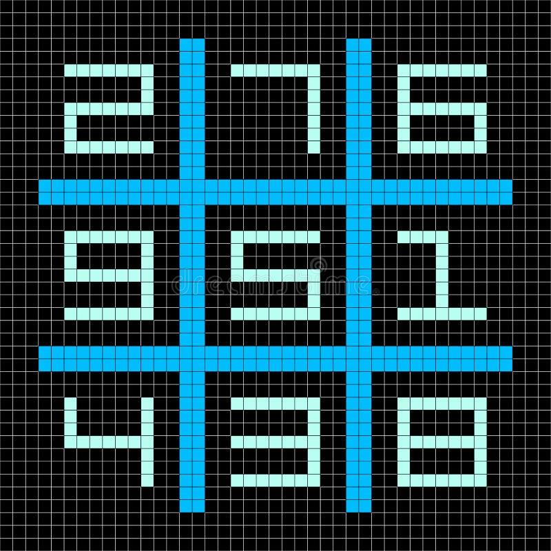 pixel de 8 bits Art Magic Square com números 1-9 ilustração royalty free