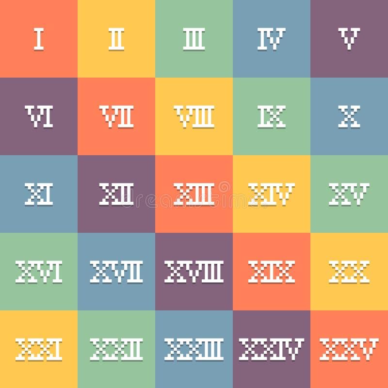 pixel de 8 bits Art Roman Numerals 1-25 Vetor Eps10 ilustração stock