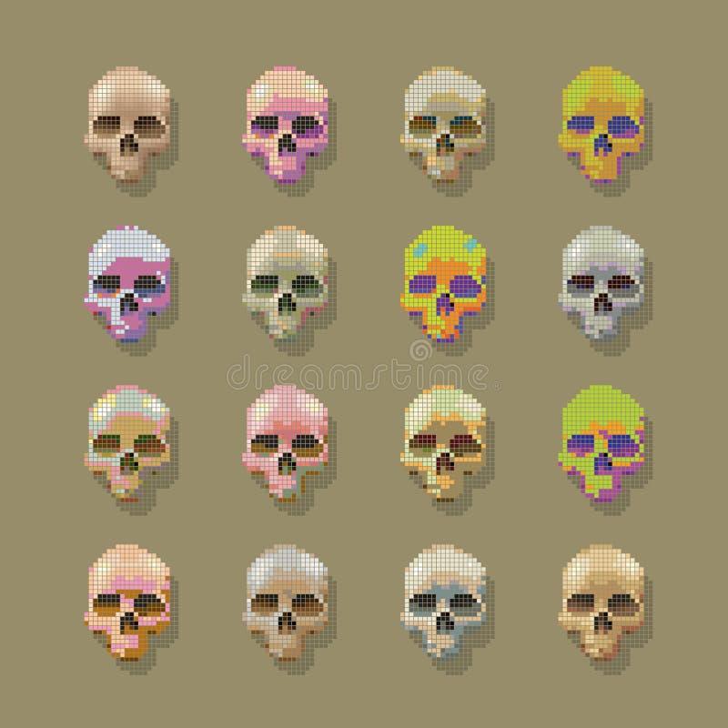 Pixel de crânes multicolore illustration stock