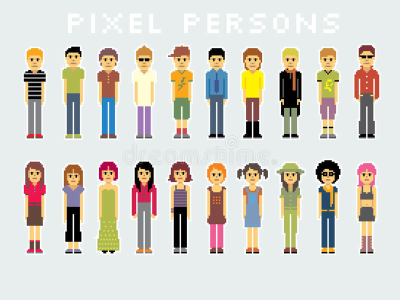 Pixel de gens illustration stock