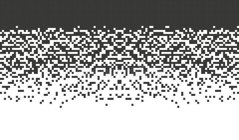 Pixel de queda O projeto abstrato do inclinação do fundo do mosaico isolou elementos pretos no backgrou branco ilustração royalty free