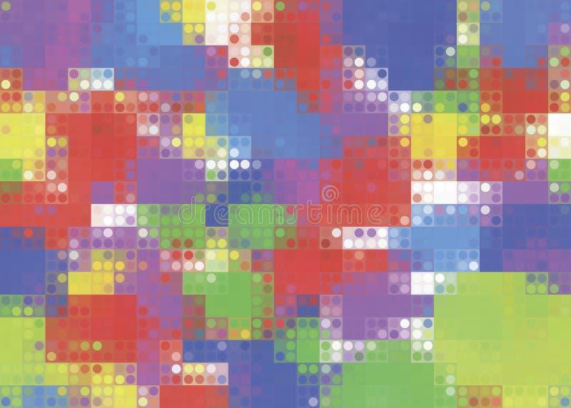 Pixel del extracto del fondo multicolor con los puntos iridiscentes ilustración del vector