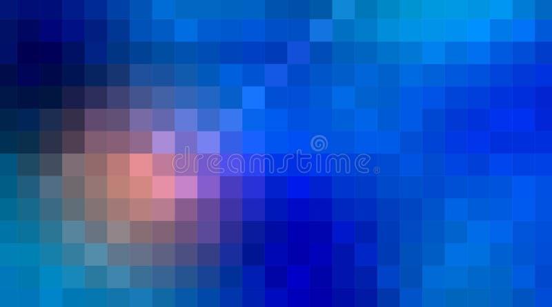 Pixel del extracto del vector o fondo geométrico del modelo Ejemplo de cuadrados con el fondo borroso azul de la pendiente del co ilustración del vector