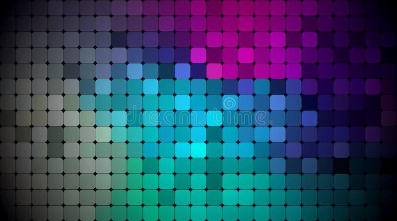 Pixel del extracto del vector o fondo geométrico del modelo Ejemplo de cuadrados con el fondo borroso azul de la pendiente del co libre illustration