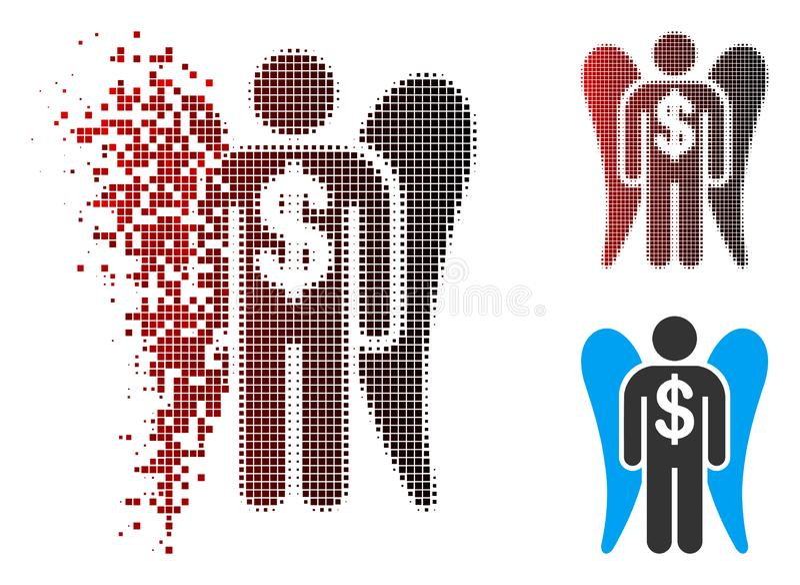 Pixel Destructed Angel Investor Icon de intervalo mínimo com cara ilustração royalty free