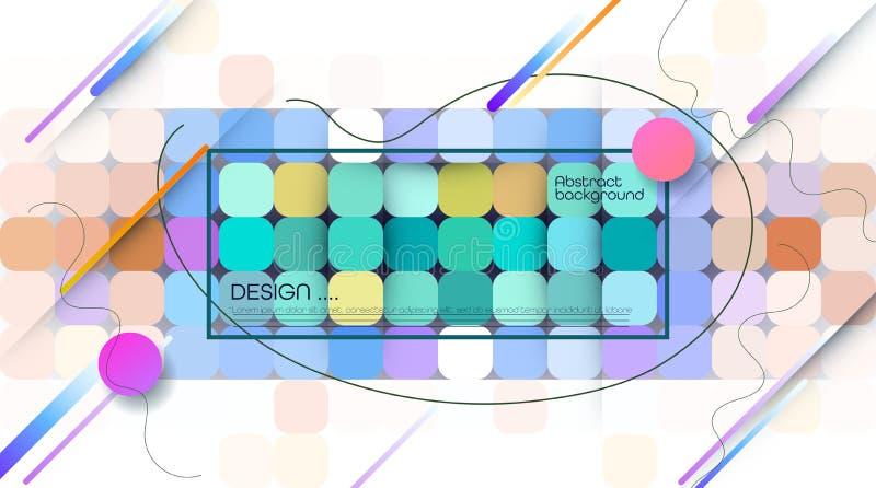 Pixel do sum?rio do vetor ou fundo geom?trico do teste padr?o Ilustra??o dos quadrados com fundo borrado azul do inclina??o da co ilustração stock