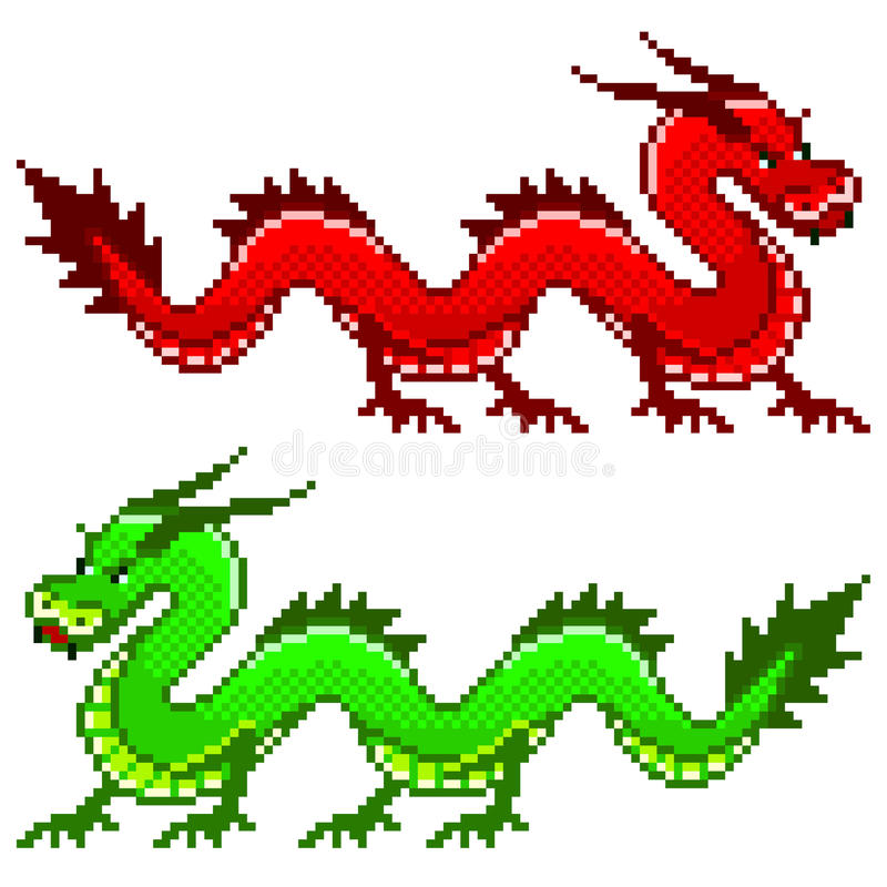 Pixel dragon vector stock illustration