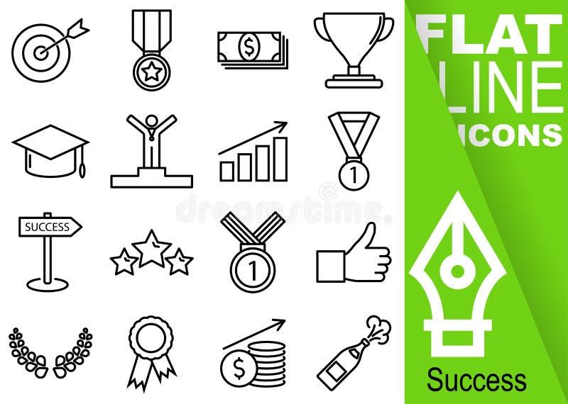 Pixel editável do curso 70x70 Grupo simples de linha lisa ícones com a bandeira verde vertical - objetivo do vetor dezesseis do s ilustração stock