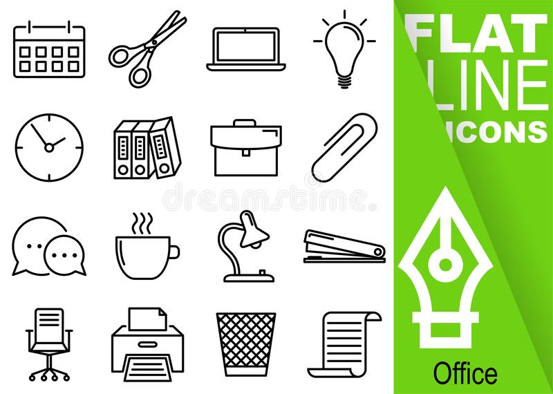 Pixel editabile del colpo 70x70 Insieme semplice della linea piana icone di vettore sedici dell'ufficio con l'insegna verde verti royalty illustrazione gratis