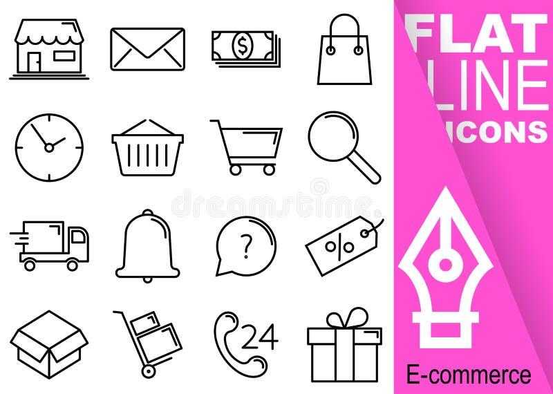 Pixel Editable de la course 70x70 Ensemble simple de ligne plate icônes du vecteur seize de commerce avec la bannière pourpre ver illustration stock