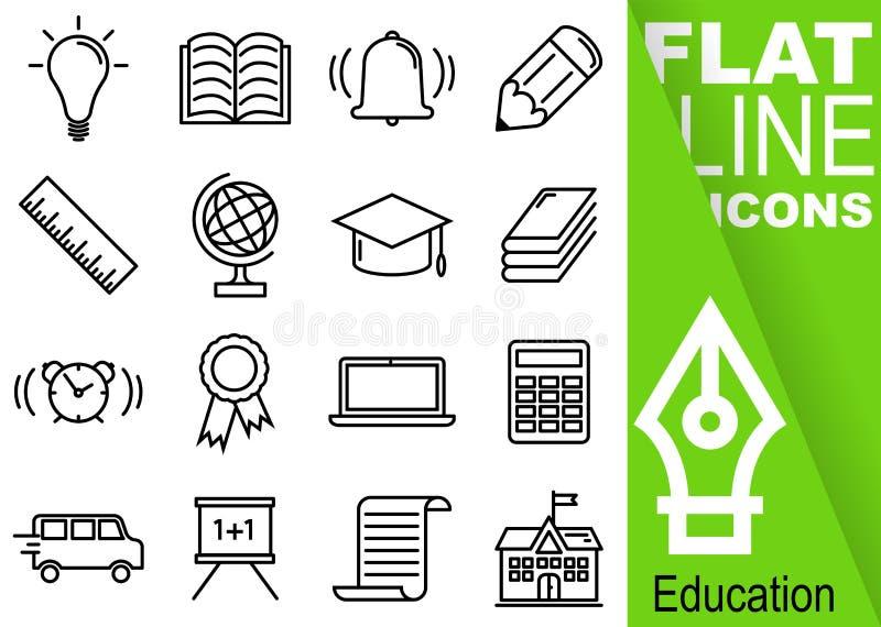 Pixel Editable de la course 70x70 Ensemble simple de ligne plate icônes du vecteur seize d'éducation avec la bannière verte verti illustration libre de droits