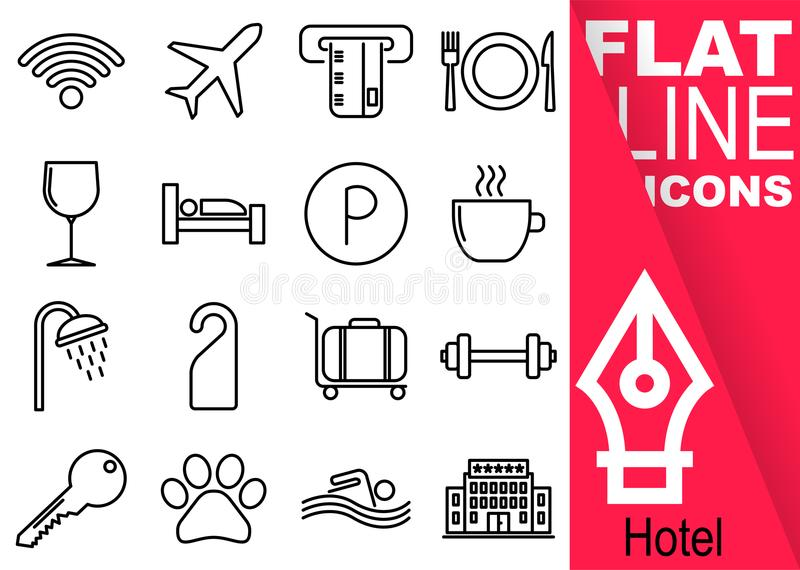 Pixel Editable de la course 70x70 Ensemble simple de ligne plate icônes du vecteur seize d'hôtel avec la bannière rouge verticale illustration libre de droits