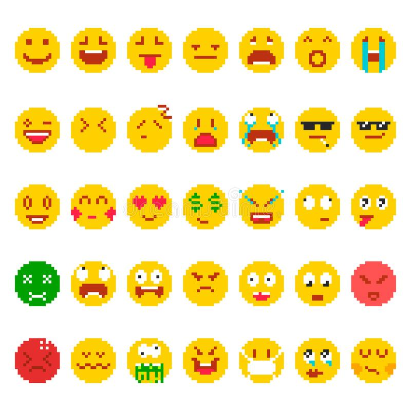 Pixel Emoji Set Stock Vector Illustration Of Creative 106097051