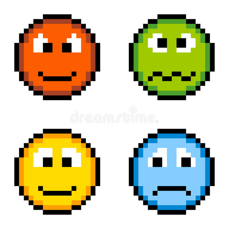 Download Pixel Emotion Icons - Angry, Sick, Happy, Sad Isolated On White Stock Vector - Image: 31501337