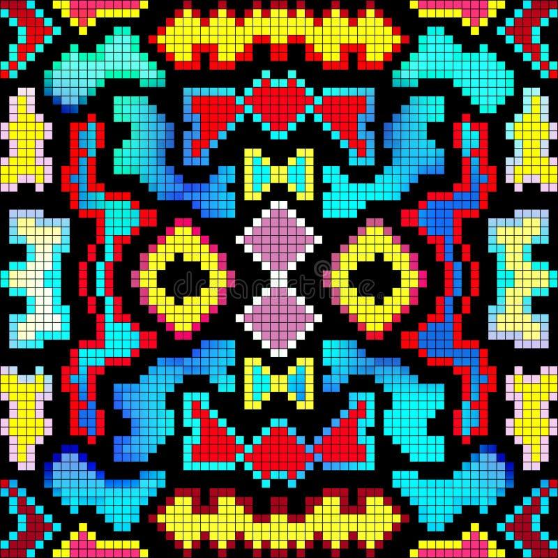 PIXEL färgade den geometriska sömlösa modellvektorillustrationen stock illustrationer