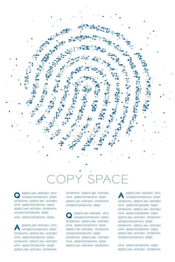 PIXEL för fyrkantig ask för polygon för fingeravtryckformpartikel illustration för färg för geometrisk låg och triangelmodell blå royaltyfri illustrationer