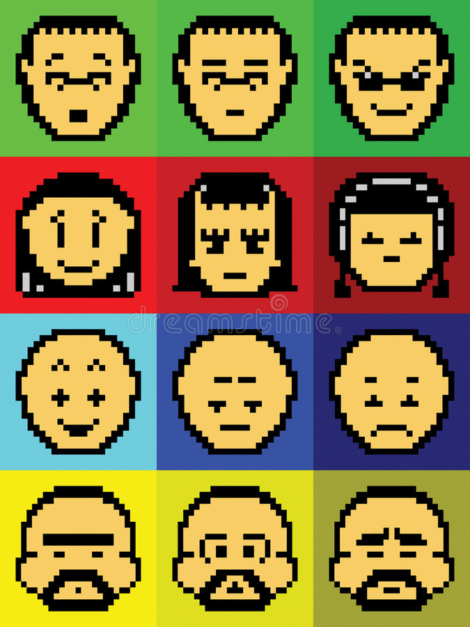Pixel Faces Royalty Free Stock Image